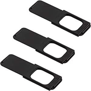 "C-Slide Webcam Cover 3 Pack - Thin Sliding Laptop Cam Blocker, Black, 1.5"" x 0.5"" and 1.5mm Thick - Thin Cam Slide Blocker for Computer, Tablet, Echo, Chromebook & More"