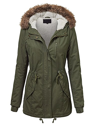 LL WJC1032 Womens Milatary Anorak Safari Jacket with Hood L OLIVE