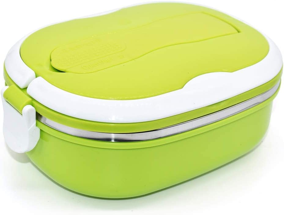 Stainless Steel Insulated Square Lunch Box for Children, Kids and Adult, Portable Picnic Storage Boxes, School Student Food Container with Spoon (Green)