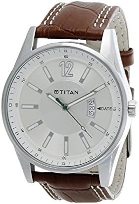 Titan Men's Contemporary Chronograph, Multi Function,Work Wear,Gold, Silver Metal, Leather Strap, Mineral Crystal, Quartz, Analog, Water Resistant Wrist Watch