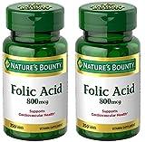 Folic Acid 800 mcg Tablets Maximum Strength, 2 Bottles (250 Count)