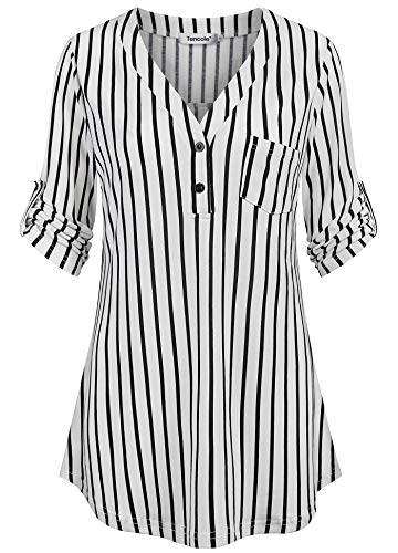 Tencole Women Blouses for Work, Office Blouses for Women Chest Flaps Tops Loose Hem Classic Striped Business Work Office Tunic Shirts Black White Stripes ()
