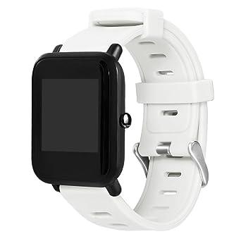 Pour Huami Amazfit Bip Youth Watch,Cooljun Bracelet de remplacement de silicone sport (blanc