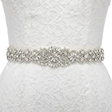 Remedios Sparkling Rhinestone Satin Ribbon Sash Belt for Wedding Evening Party Dress,Ivory