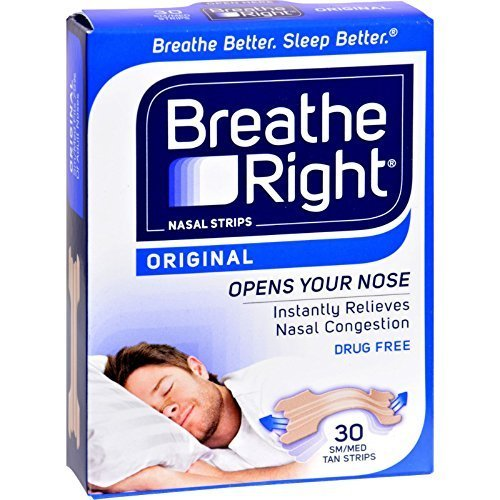 Breathe Right Nasal Strips Original Tan Small/Medium 30 ea (Pack of 12) by Breathe Right