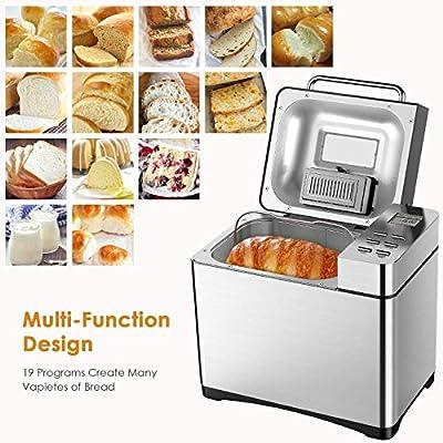 Aicok Panificadora con 19 Programas, Maquina de pan Automático y Temporizador de 15h, Acero inoxidable, 0.5-1kg para Pan sin gluten, Mermelada y ...