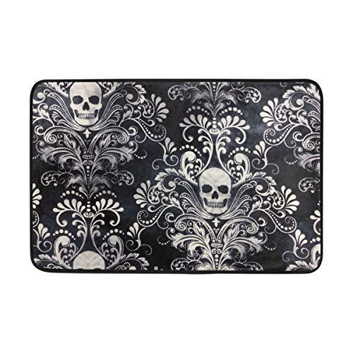 Ladninag BathMat Gothic Skull Damask Scary Halloween Doormat Indoor Outdoor Entrance Floor Welcome Mats Bathroom Rug]()