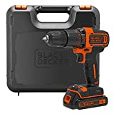 BLACK+DECKER BDCHD18K 18 V Lithium-Ion 2-Gear Hammer Drill with Kit Box - Black/Orange