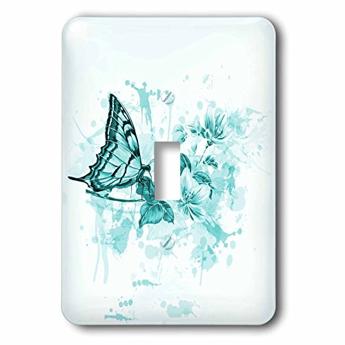 3dRose lsp_112089_1 Pretty Turquoise Blossoms with A Butterfly on A Grunge Background Single Toggle Switch (Background Grunge)