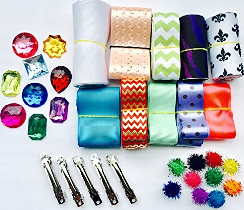 BEEKLEY BOWS Hair Bow Craft Supply Making Kit, Includes Ribbon, Barrettes, Rhinestones