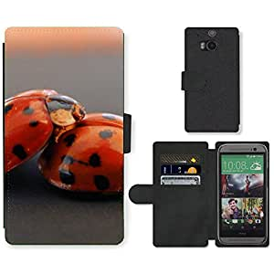 Hot Style Cell Phone Card Slot PU Leather Wallet Case // M99999185 Ladybug // HTC One M8