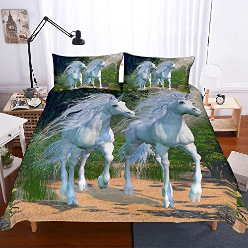 REALIN Unicorn Duvet Cover Set Forest Auroras Two White Unicorns Bedding for Children and Adult,2/3/4PCS Microfiber Quilt Cover/Sheet/Pillow Shams,Twin/Full/Queen/King - Aurora Bedding