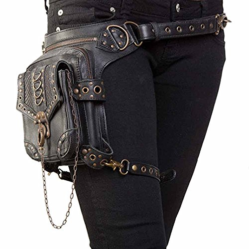 Hips Thighs - FiveloveTwo Men Women Multi-Purpose Tactical Drop Leg Arm Bag Pack Hip Belt Waist Messenger Shoulder Fanny Packs Steampunk Bag Wallet Purse Pouch Bag Black