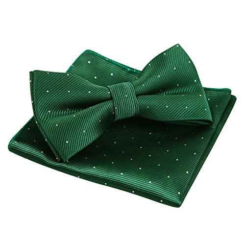 Men's Silver Dot Banded Bow Tie and Pocket Square Set, Dark Green ()