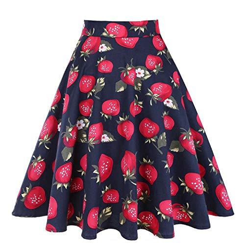 Skater Jupes Strawberry Femme imprim Taille 50 Pois Femmes midi Dames Jupe d't Blue d't Haute Plus Jupes Vintage Taille s Noire Floral 1f1qw6r7