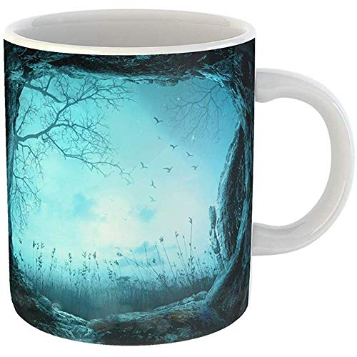 Coffee Tea Mug Gift 11 Ounces Funny White Ceramic Blue Halloween Spooky of Opening Tomb Stone on Meadow Night Abstract Gifts For Family Friends Coworkers Boss Mug -