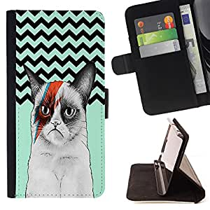 - Chevron Grumpy Cat - - Premium PU Leather Wallet Case with Card Slots, Cash Compartment and Detachable Wrist Strap FOR Samsung Galaxy S3 MINI I8190 King case