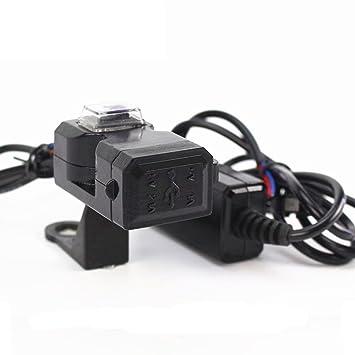 1x Cargador USB para Motocicleta Impermeable Puerto de Alimentación Adaptador de Corriente de Zócalo de 2 Salidas con Interruptor 12-24V 2.1 Amperios