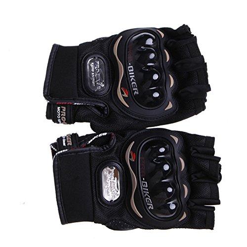 Delight eShop Motorcycle Protective Half Finger Gloves, for Pro-Biker, Non-slip Wear-resistant Ventilate Tactical Gloves, 3 optional color, L/M/XL, pack of 1pcs (Black, M)