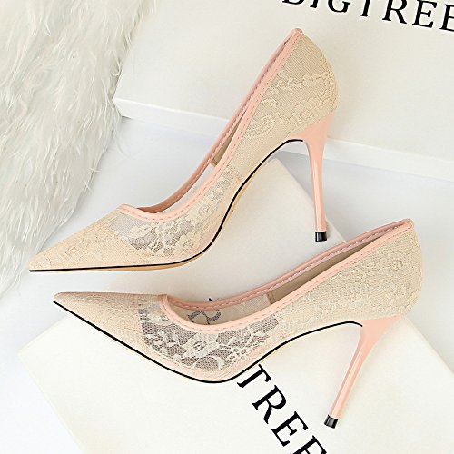 Huecos Mujer Zapatos De de Estrecha Yukun De Negro De tacón De con alto Bordados Alto Tacón Zapatos Punta Mujer Malla Pink zapatos De nIZxYqYRg