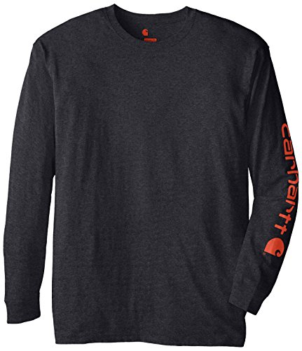 Carhartt Men's Big-Tall Signature Sleeve Logo Long Sleeve T Shirt Original Fit, Carbon Heather, Large/Tall