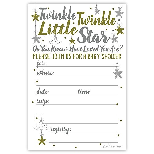 Twinkle Twinkle Little Star Baby Shower Invitations (20 Count) With Envelopes -