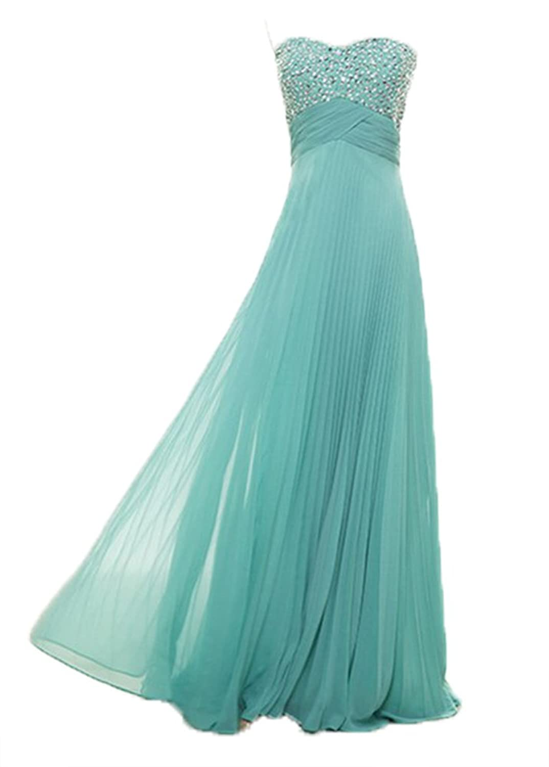 Fanciest Women's Beaded Long Bridesmaid Dresses Wedding Party Gowns Turquoise