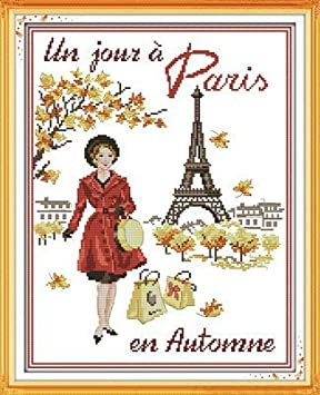 Joy Sunday Cross Stitch kits Paris in the autumn,11CT Counted 43cm/×54 or 16.77/×21.06