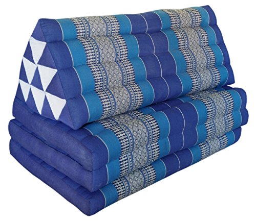 Thai triangle cushion/mattress XXL, with 3 folding seats, blue, sofa, relaxation, beach, pool, meditation, yoga, made in Thailand. (82218) by Wilai GmbH