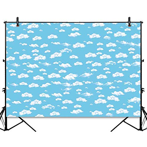 Allenjoy 7x5ft Blue Sky White Clouds Children Birthday Party Backdrop Airplane Pilot Theme Cake Table Banner Baby Shower Decorations Kids Photography Background Photo Studio Booth Props ()