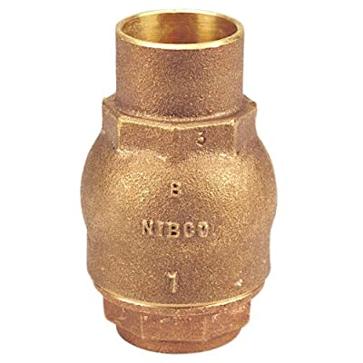 "NIBCO NJ7Q0x8 Silicon Bronze Lead-Free Check Valve, Inline, PTFE Seat, 3/4"" Female Solder Cup from NIBCO"