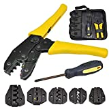 LUVODI Crimping Tool Kit Multifunctional Terminals Ratchet Crimper Stripper Plier 5 Interchangeable Die Sets for Non-insulated and Insulated Cable Wire with Oxford Storage Bag