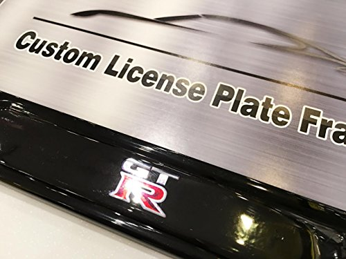 - Nissan GT-R Logo Emblem Modern GLOSS BLACK Finish License Plate Frame 100% Stainless Steel Durable Construction, Fits all GTR R35 BNR32 R34 R33 R32 Skyline Godzilla Nismo 3.8 V6 TT TwinTurbo Supercar