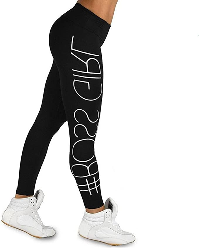 Minisoya Womens Letters Printed High Waist Sports Gym Yoga Pants Gym Running Fitness Leggings Athletic Workout Trousers