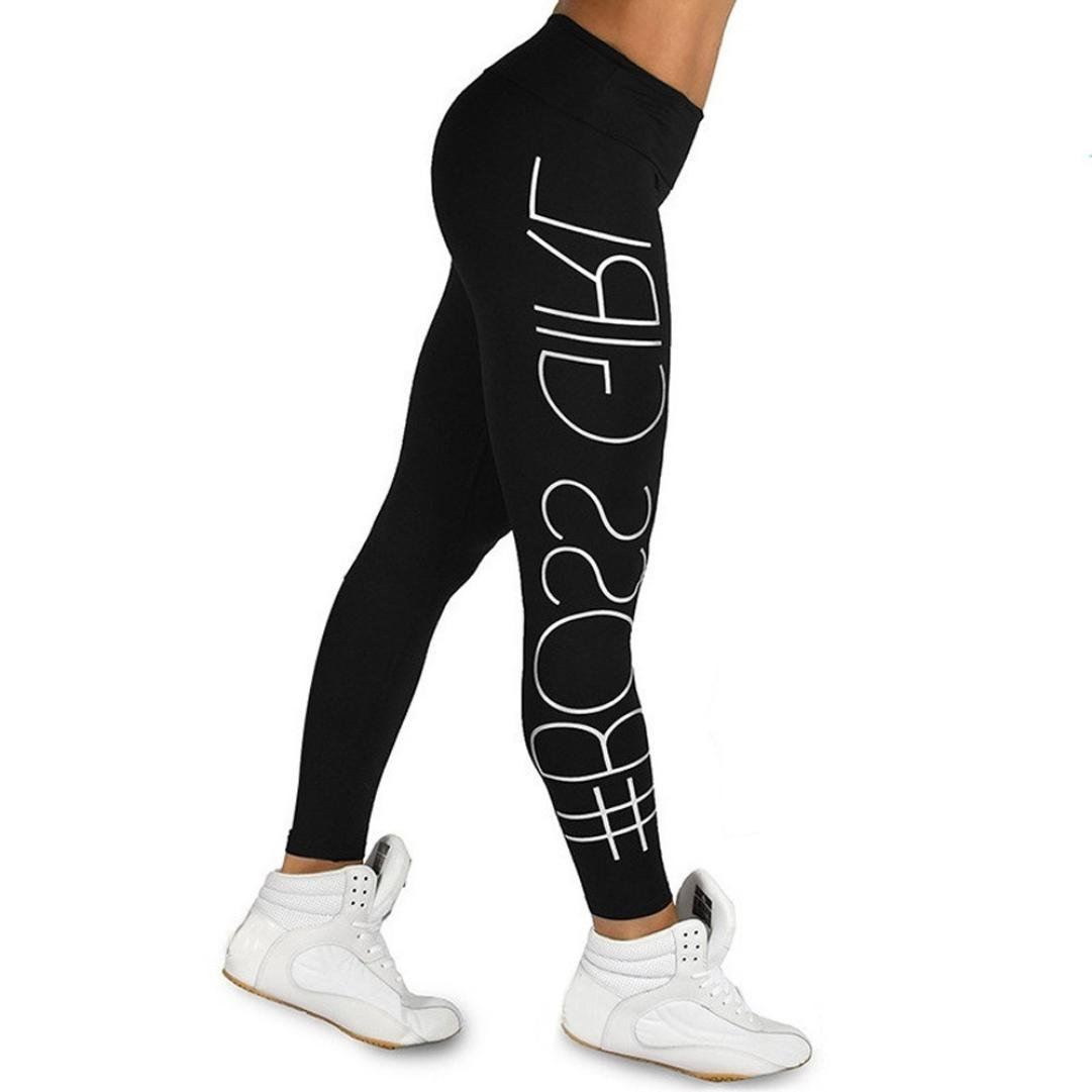f50ed1191e815f Amazon.com: Minisoya Women's Letters Printed High Waist Sports Gym Yoga  Pants Gym Running Fitness Leggings Athletic Workout Trousers: Clothing