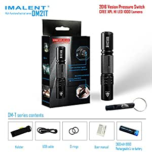 IMALENT DM21T 1000 Lumens XP-L HI LED Multi-factional Tactical White Flashlight IPX-8 Waterproof built-in USB charger interface comes with one 2600mAh rechargeable battery