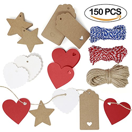 VAMAI Kraft Paper Gift Tags 150 PCs with 230 Feet Cotton String Jute Twine Shaped Heart Star Rectangle Blank Brown Hanging Tag for Mother's Day (Pattern Star Ornament)
