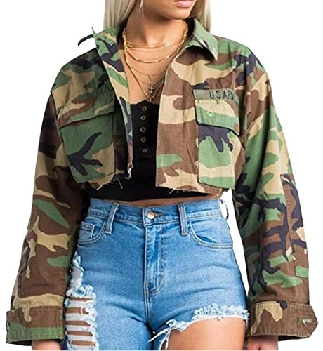 LD Womens Military Camo Print Button Up Short Crop Jacket Coat Outwear 1 S