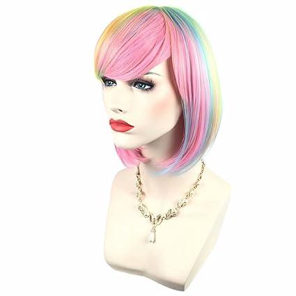 COSPLAZA Elegante peluca rosa pastel arco iris corto recto BOB para niñas moda fiesta peluca