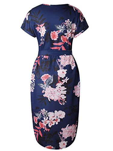 Neck Floral Geometric Dress XS Casual Womens V XXXL Print Work PORALA Belted Pattern Midi Dresses Blue Pencil Summer ZI0w6v