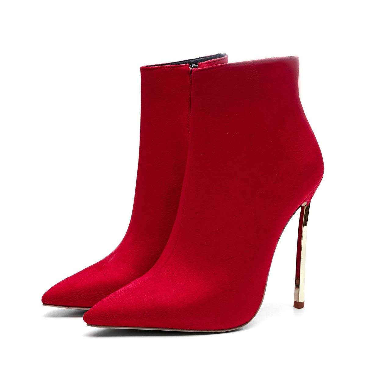 Hy Damenschuhe Stiefel, Wildleder Herbst Winter Stiefel, Damen Abendschuhe, Mode Stiefel, Pfennigabsatz Stiefeletten, Hochzeitsgesellschaft (Farbe   Rot, Größe   34)