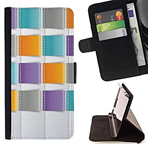 For Sony Xperia M5 E5603 E5606 E5653 Case , Trullo púrpura anaranjado costura- la tarjeta de Crédito Slots PU Funda de cuero Monedero caso cubierta de piel