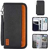 BestFire Passport Holder Travel Wallet RFID Blocking Waterproof Travel Document Organizer with Zipper for Smartphone,ID Cards, Credit Cards, Flight Tickets, Cash, Key (Black)