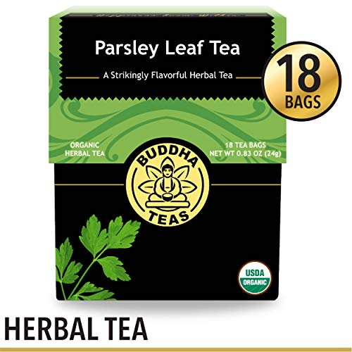 Organic Parsley Leaf Tea, 18 Bleach-Free Tea Bags - Caffeine Free, Source of Vitamins, Minerals, and Essential Nutrients, No GMOs - Soothes Indigestion and Supports Kidney Function and Detoxification