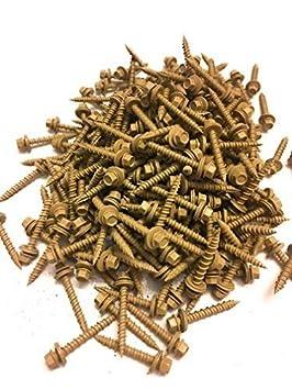 sheet metal siding screws ~ EPDM washer ~For corrugated roofing #10 Metal ROOFING SCREWS: Screws x 4 ZINC Hex Head Sheet Metal Roof Screw 250 Self starting//tapping metal to wood