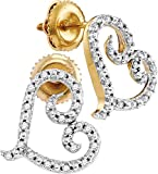 10kt Yellow Gold Womens Round Diamond Heart Love Earrings 1/6 Cttw