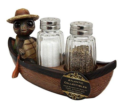 Turtle Salt (Atlantic Collectibles Camper Turtle Zippy Rowing Boat Salt Pepper Shakers Holder Figurine 7