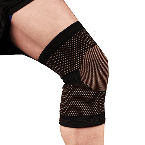 Copper D Copper Compression Knee Sleeve - Rayon from Bamboo Charcoal Copper Infused Knee Support Brace - Size Large - Extra Large - Black Copper Dots - 2 Pack