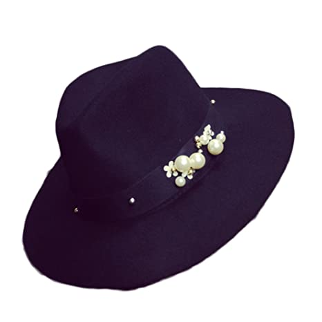 Dig dog bone Ladys Hat Winter Flowers Decorated with Pearls and Broad-Brimmed Jazz Hats