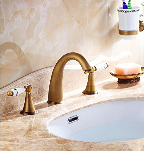 Tyrants Faucet Kitchen faucet NET faucet Bathroom faucet 3 Colors 3 holes Antique Brass Deck Mounted Bathroom Mixer Tap Bath Basin Sink Vanity Faucet Water tap bath faucets H2130,Brass,antique